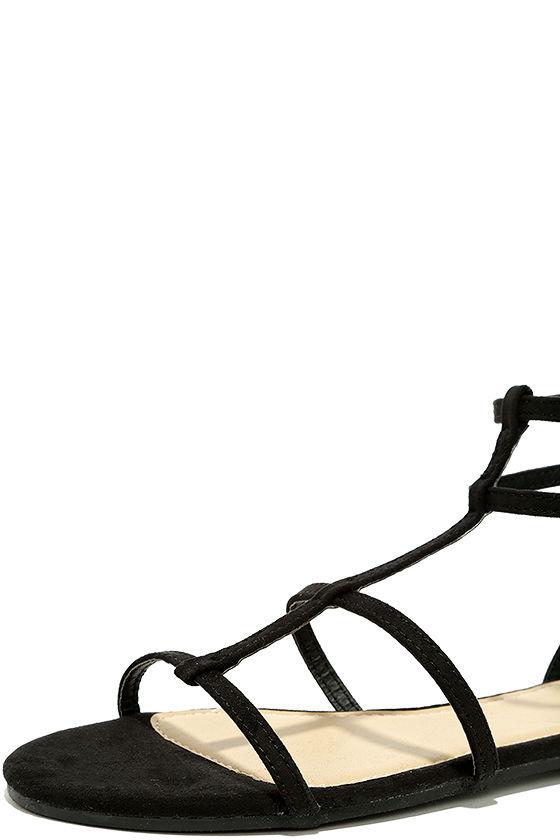 Jayne Black Suede Gladiator Sandals 6