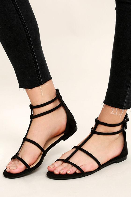 108856a8a Cool Black Sandals - Gladiator Sandals - Flat Sandals -  22.00