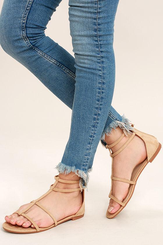 Jayne Camel Suede Gladiator Sandals 1
