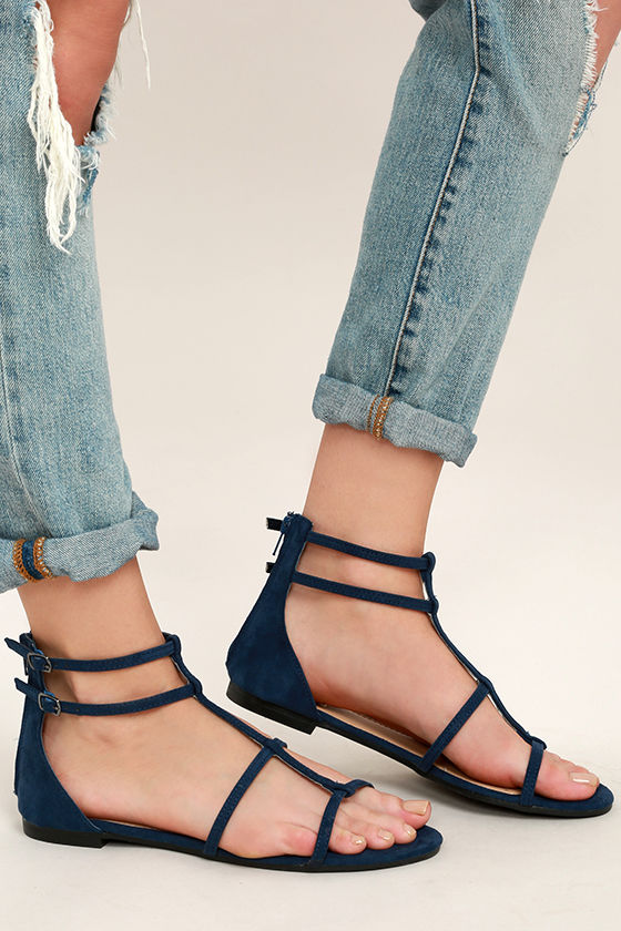 eedd50aab66 Cool Navy Sandals - Gladiator Sandals - Flat Sandals - $22.00