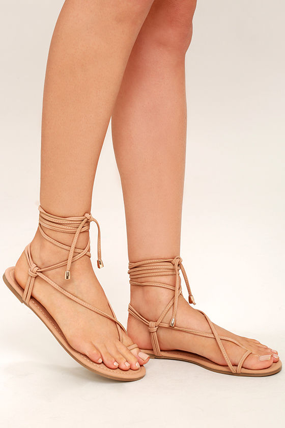 Micah Nude Lace-Up Flat Sandals 1