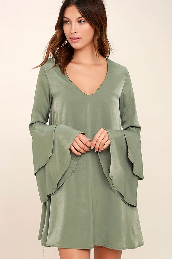 Get a Glimpse Sage Green Long Sleeve Shift Dress 1