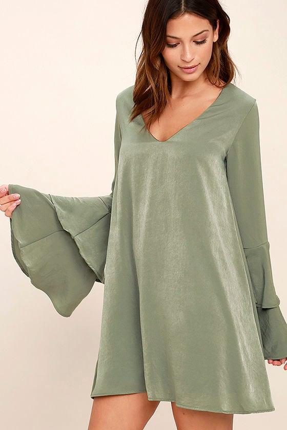 Get a Glimpse Sage Green Long Sleeve Shift Dress 3