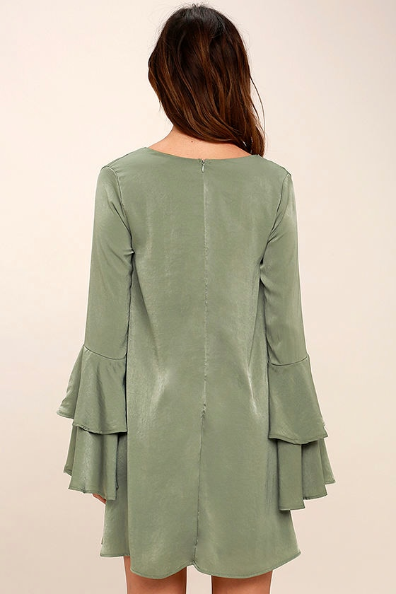 Get a Glimpse Sage Green Long Sleeve Shift Dress 4