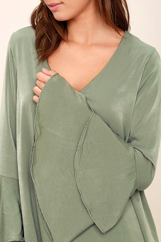 Get a Glimpse Sage Green Long Sleeve Shift Dress 5