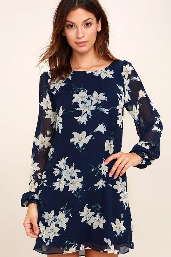 Long Sleeve Floral Print Dresses