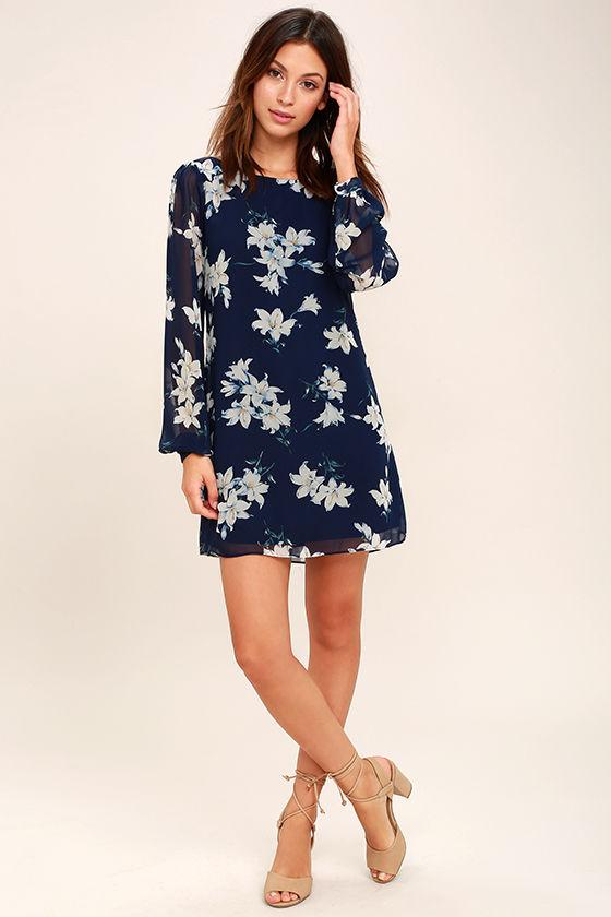 eb839bb90cc6 Lovely Navy Blue Dress - Floral Print Dress - Long Sleeve Dress ...
