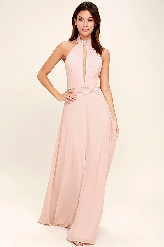 Stunning Blush Pink Maxi Dress - Halter Maxi - Backless Maxi - $89.00