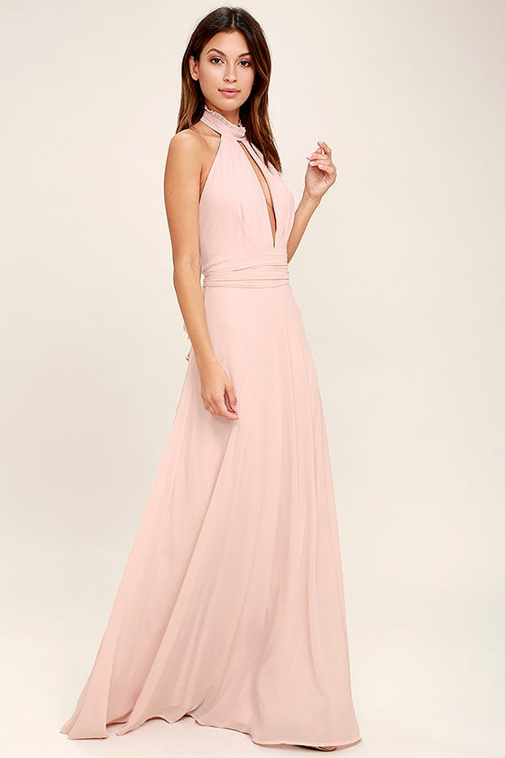 lovely blush pink maxi dress - backless maxi dress - pink gown