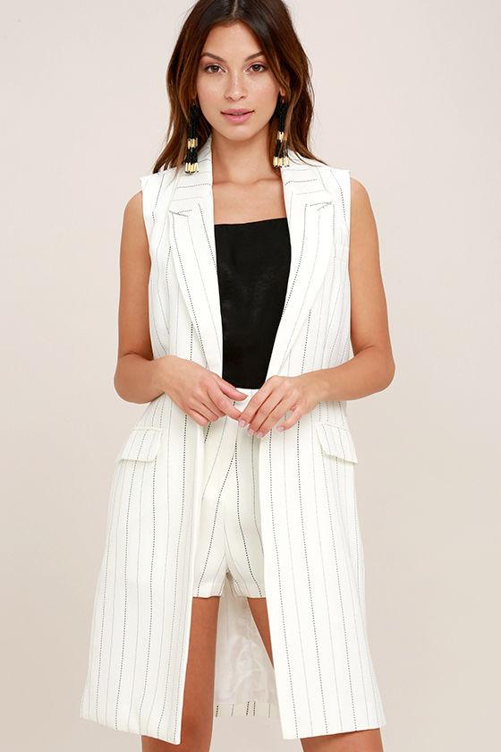 310bd089102d7f Chic Black and White Striped Vest - Long Vest - Pin Stripe Vest -  74.00
