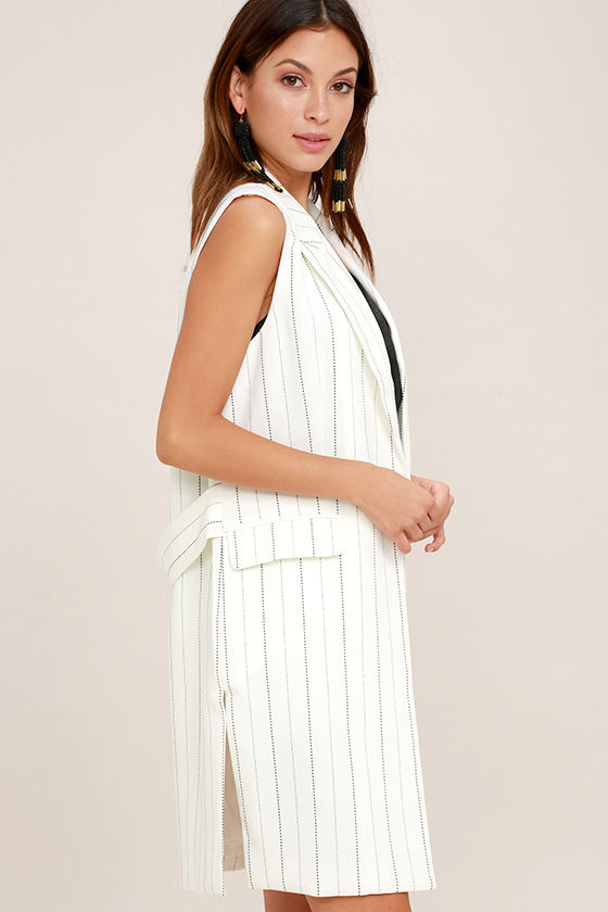 Southern Glamour Black and White Striped Vest 3