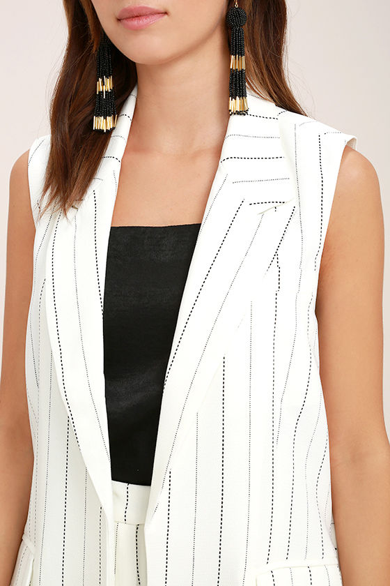 Southern Glamour Black and White Striped Vest 5