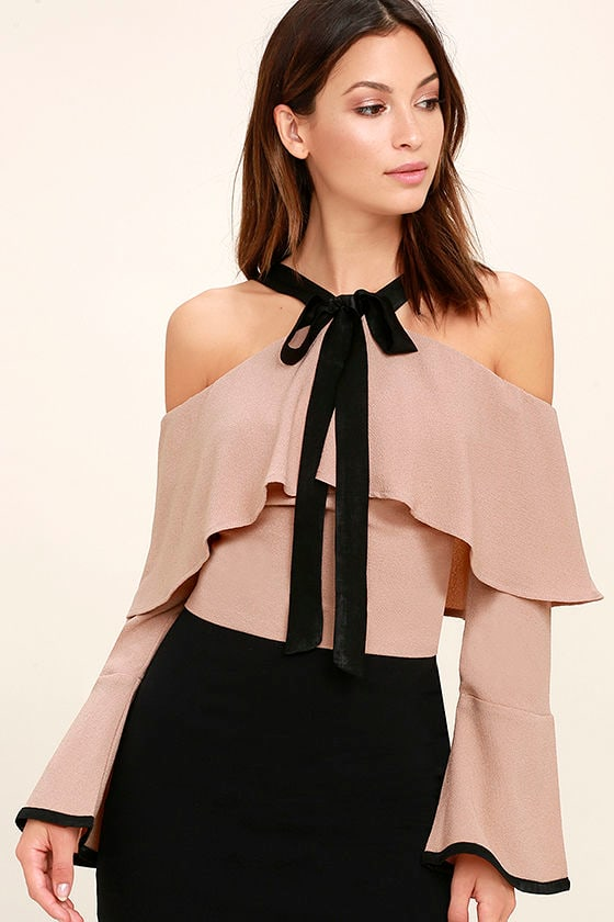 ed8d9c38b1523 Cool Blush Top - Off-The-Shoulder Top - Crop Top - Bell Sleeve Top -  46.00