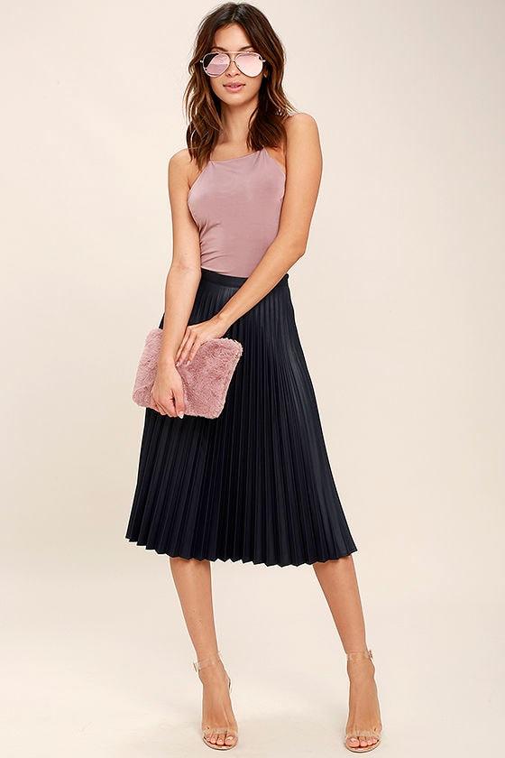 Navy Blue Skirt - Midi Skirt - High-Waisted Skirt - Pleated Skirt ...