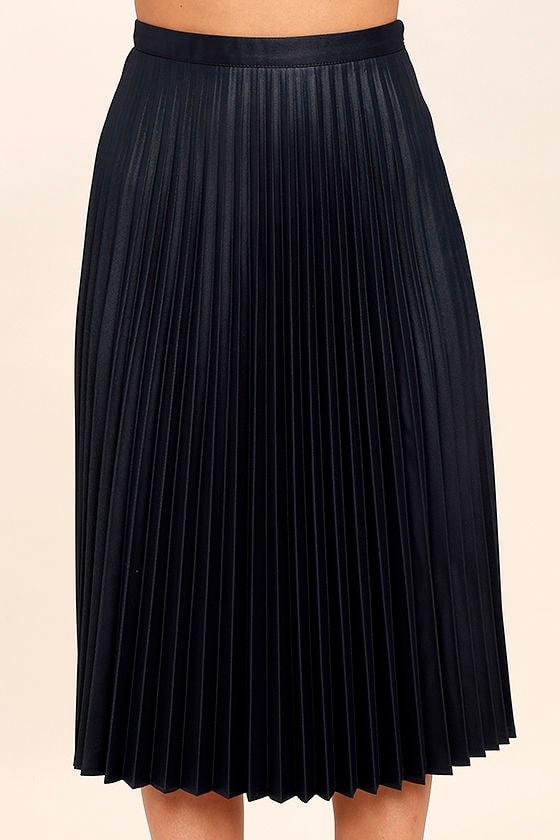 navy blue skirt midi skirt high waisted skirt