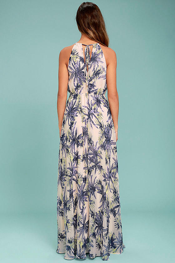 Gazebo Spirit Pale Blush and Purple Floral Print Maxi Dress 4
