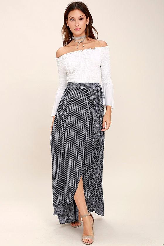 Boho Navy Blue Print Skirt - Maxi Skirt - Wrap Skirt - $48.00