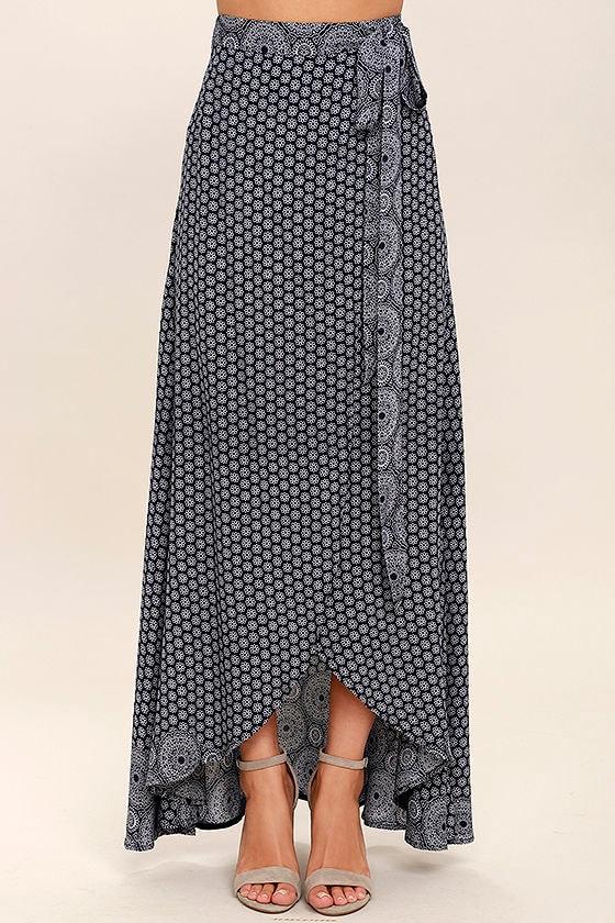 32be681239156c Boho Navy Blue Print Skirt - Maxi Skirt - Wrap Skirt - $48.00