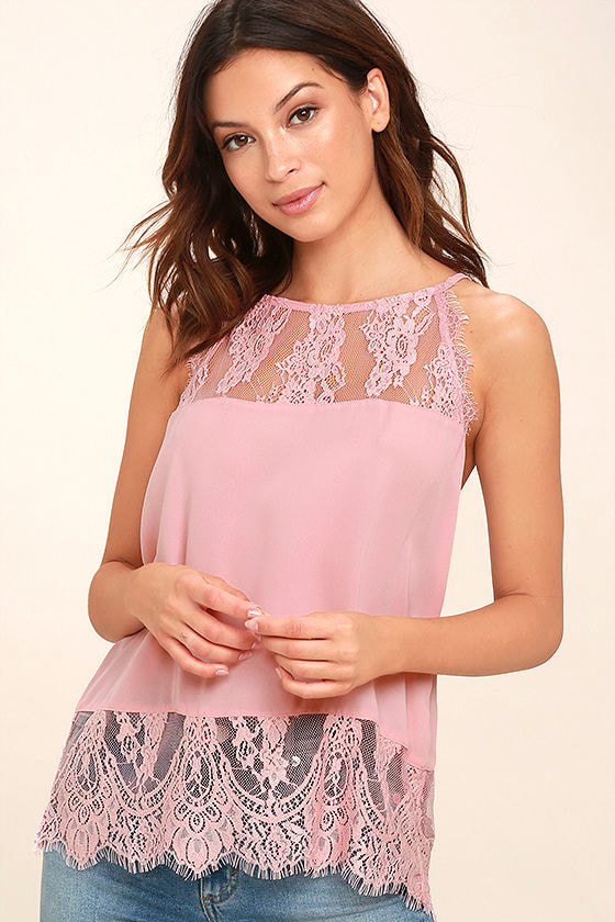 0c62238a8bd9f2 BB Dakota Yasmine Top - Blush Pink Top - Sleeveless Top - Lace Top -  63.00