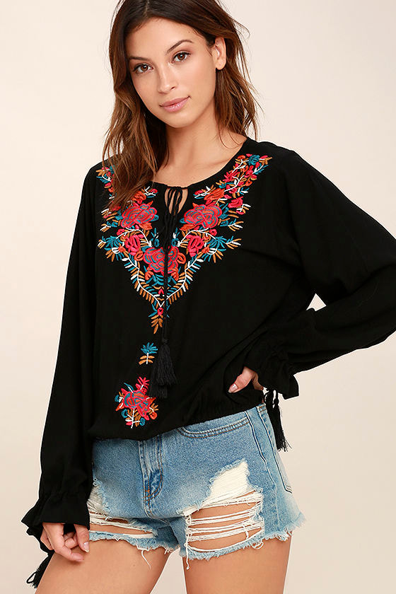 f98ad637a87 Boho Black Top - Embroidered Top - Peasant Top -  48.00