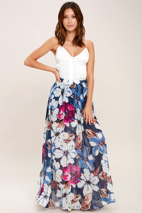 Lovely Floral Print Skirt - Navy Blue Floral Print Maxi Skirt ...