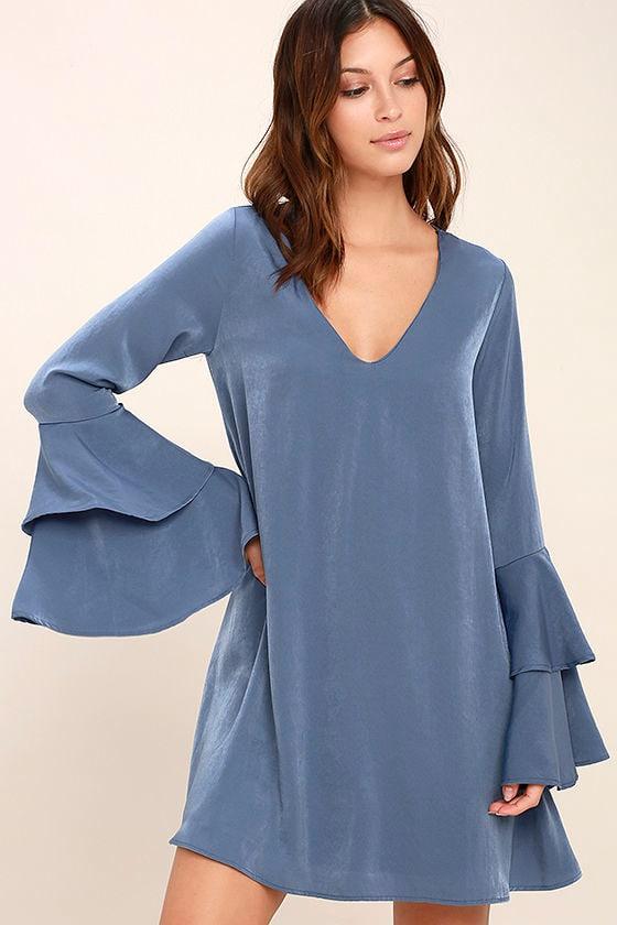 Lovely Denim Blue Dress Shift Dress Bell Sleeve Dress
