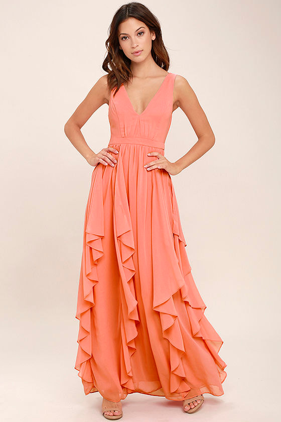 Lovely Coral Pink Dress - Maxi Dress - Bridesmaid Dress - $92.00