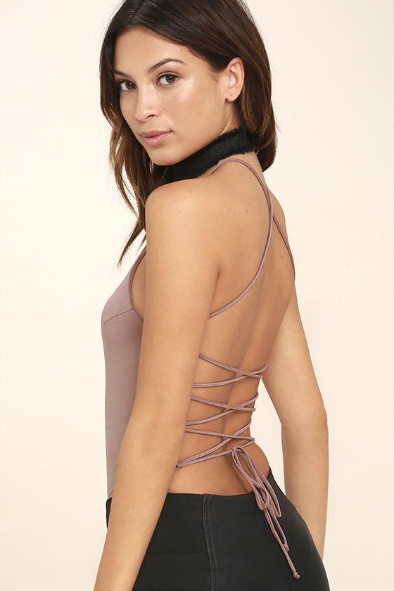 Yvonne Mauve Lace-Up Bodysuit 1