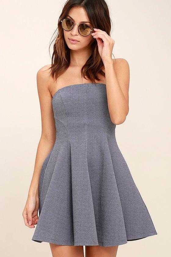 8af02999939a Cute Heather Blue Dress - Strapless Dress - Skater Dress -  67.00