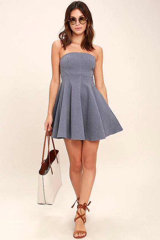 Cute Heather Blue Dress - Strapless Dress - Skater Dress - $67.00