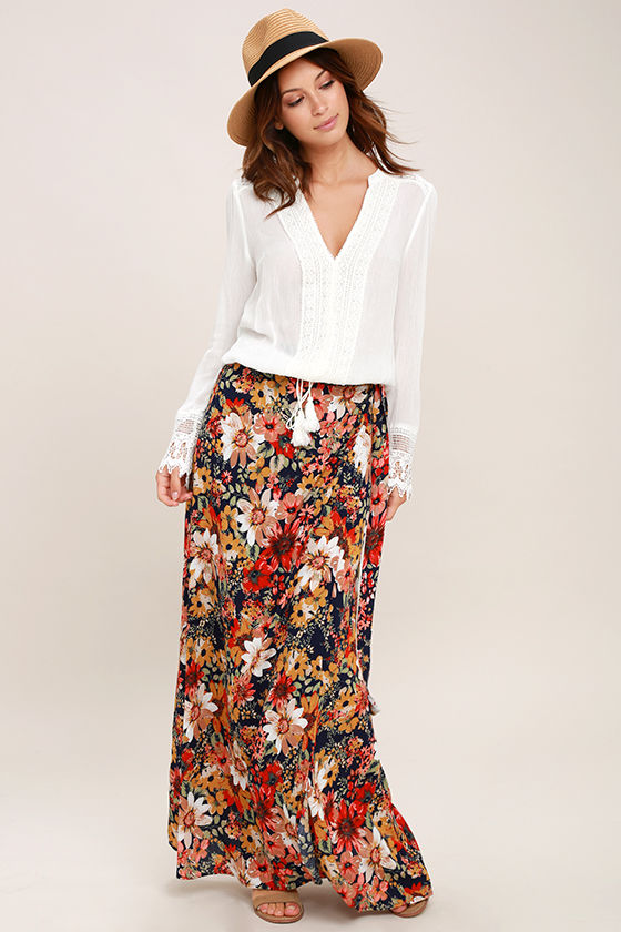 Lucy Love Skirt - Navy Blue Floral Print Maxi Skirt - Wrap Skirt ...