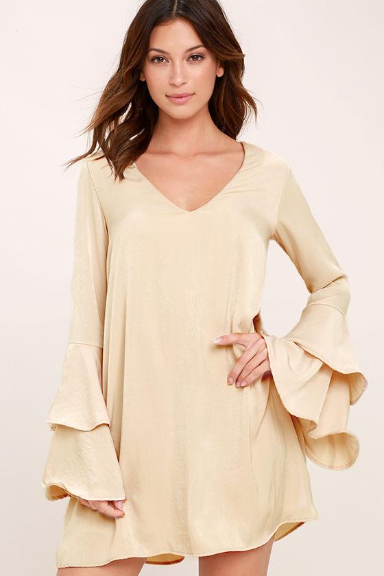 a75ba9453b30 Lovely Beige Dress - Shift Dress - Bell Sleeve Dress - Long Sleeve Dress -  $52.00