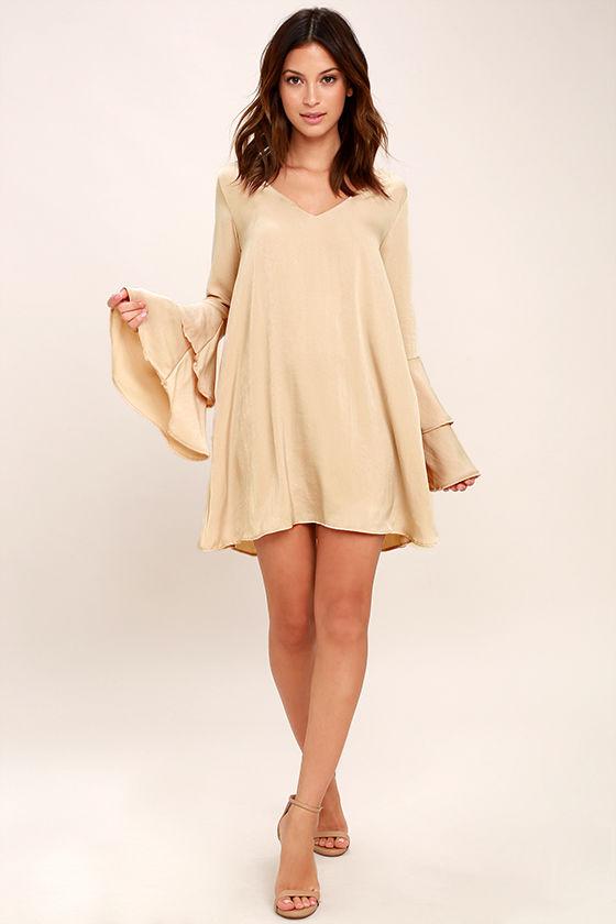 Get a Glimpse Beige Long Sleeve Shift Dress 2