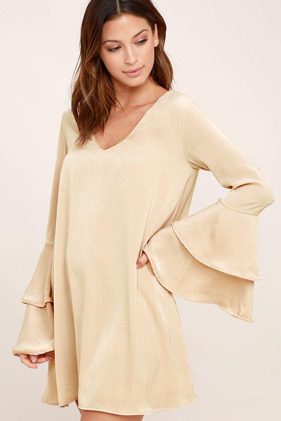 Get a Glimpse Beige Long Sleeve Shift Dress 3