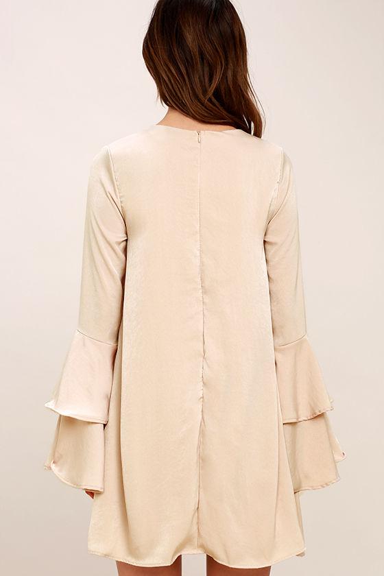 Get a Glimpse Beige Long Sleeve Shift Dress 4