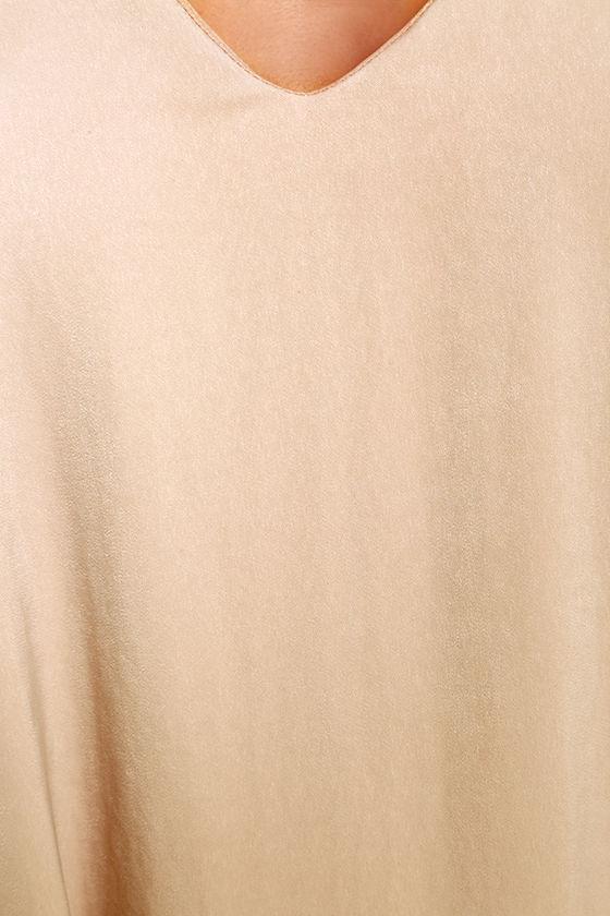 Get a Glimpse Beige Long Sleeve Shift Dress 6