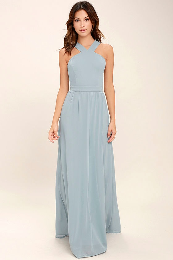 Beautiful Light Blue Dress - Maxi Dress - Halter Dress - $68.00