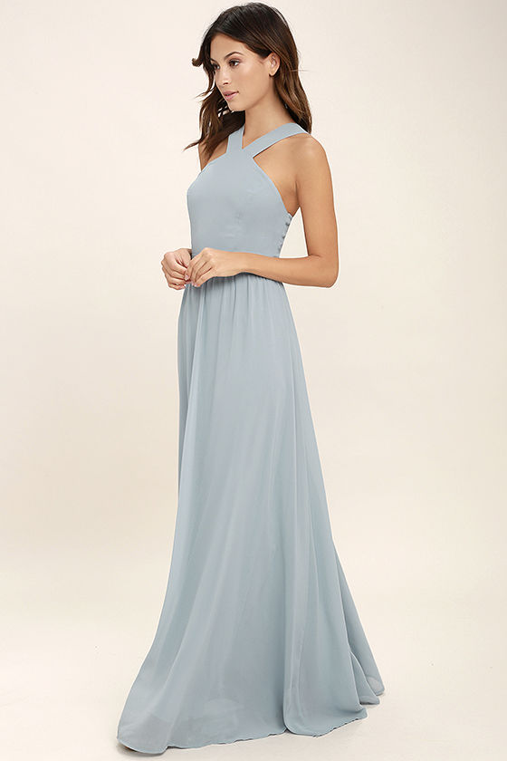 Beautiful Light Blue Dress - Maxi Dress - Halter Dress ...