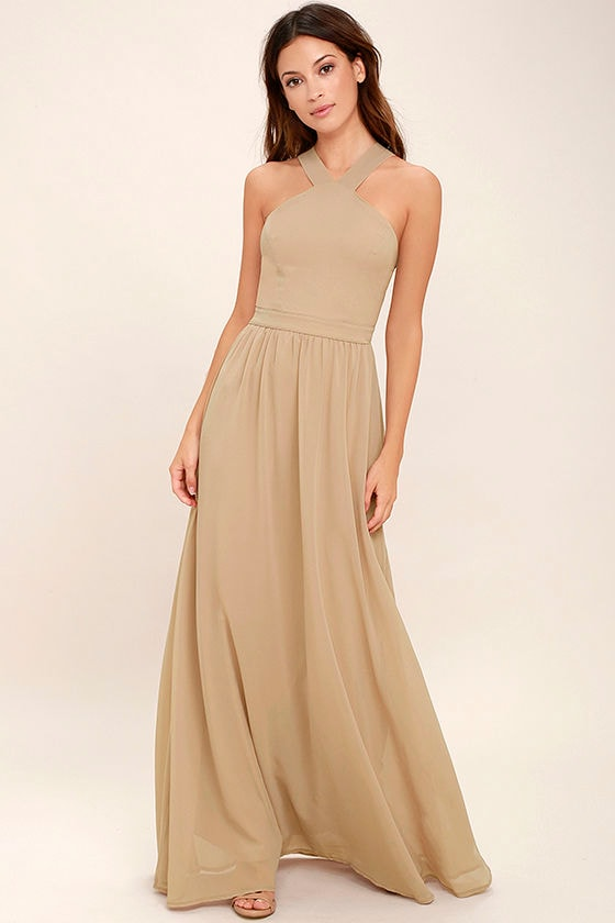 Beautiful Nude Dress - Maxi Dress - Halter Dress