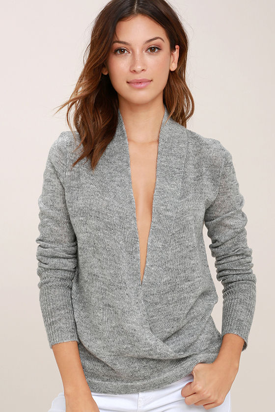Chic Heather Grey Sweater - Wrap Sweater - Low-Cut Sweater - $42.00