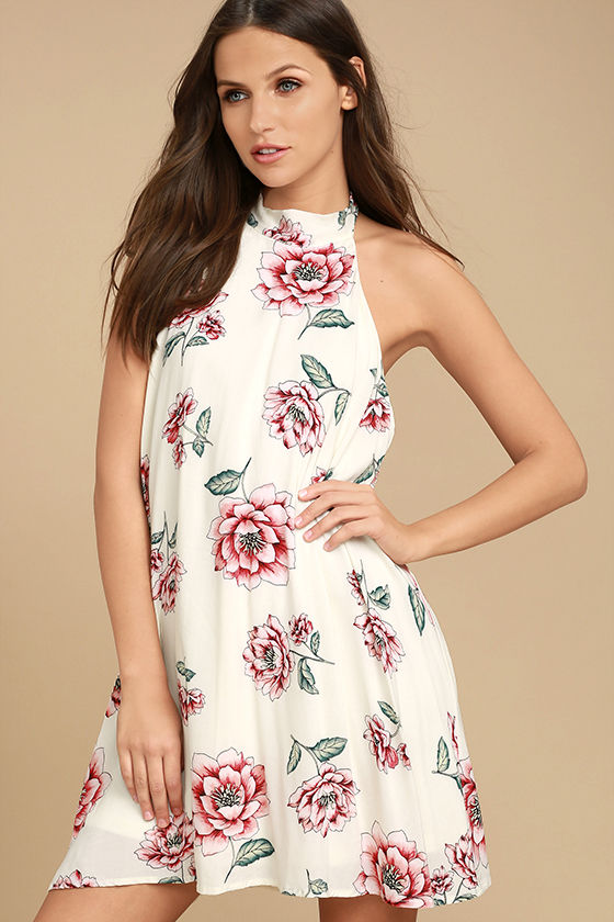 Just for Me Cream Floral Print Backless Swing Dress 3