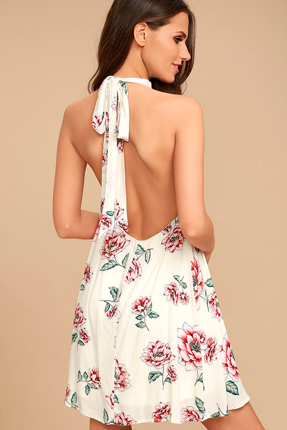 Just for Me Cream Floral Print Backless Swing Dress 1