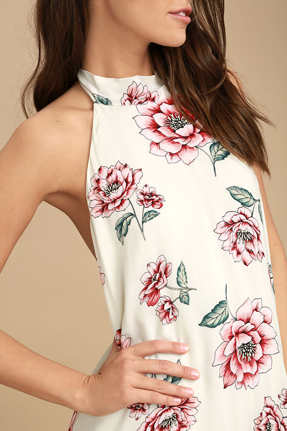 Just for Me Cream Floral Print Backless Swing Dress 5