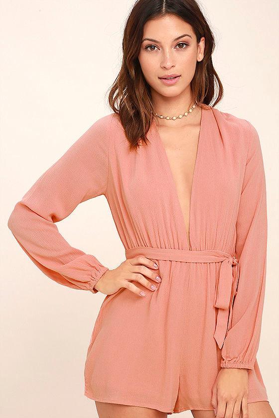 7b77c19ec1c1 Sexy Blush Pink Romper - Plunge Romper - Long Sleeve Romper -  49.00