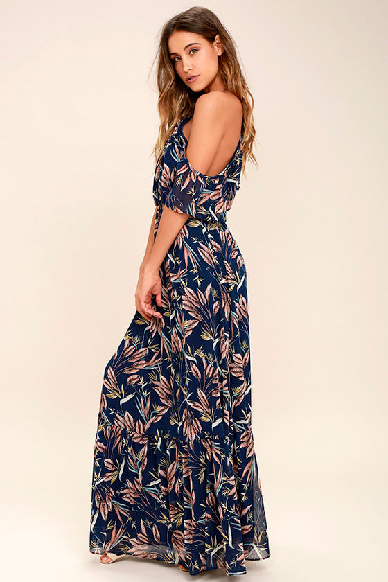 dbd627c4a95ce Dreamy Navy Blue Floral Print Dress - Off-the-Shoulder Maxi Dress -  98.00