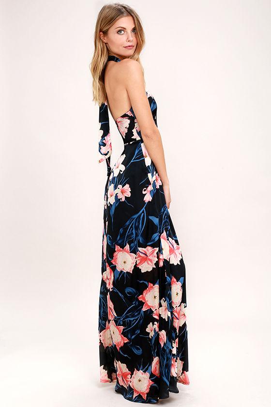 53876933ff93a Lovely Black Floral Print Dress - Print Maxi Dress - Halter Maxi ...