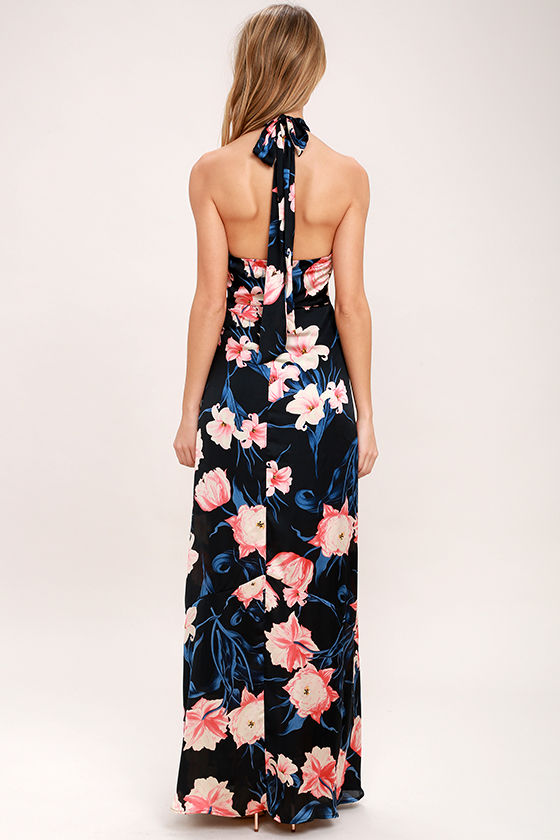 Blooming Garden Black Floral Print Halter Maxi Dress 4