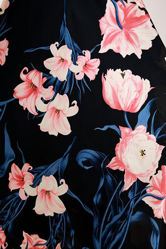Blooming Garden Black Floral Print Halter Maxi Dress 6