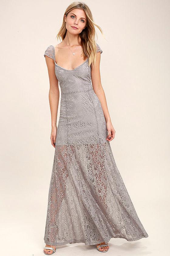 Evening Dreaming Light Grey Lace Maxi Dress 1
