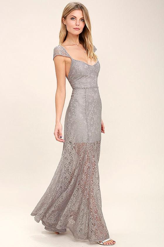 Evening Dreaming Light Grey Lace Maxi Dress 2